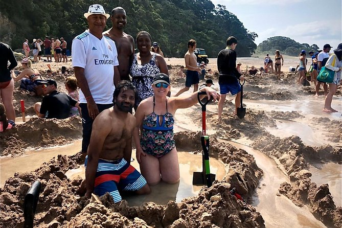 Hot water beach with customers