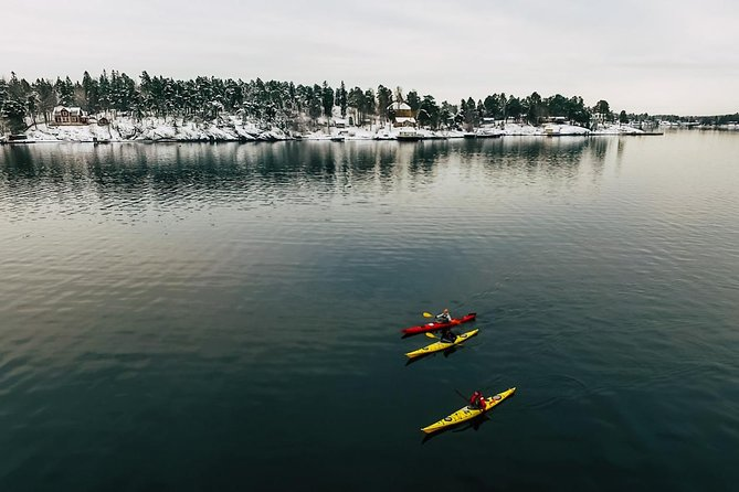 Winter kayaking tour around Vaxholm