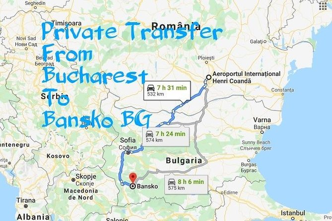Private Transfer from Bucharest to Bansko Bulgaria Price/Car 1-4 Seats photo 1