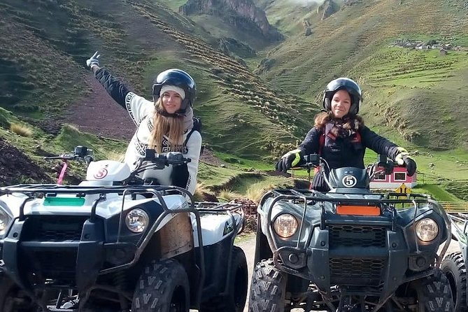 Rainbow mountain with ATVs. Private group