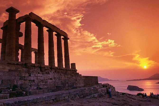 Sunset from the temple of Posidon at Cape Sounio (Half Day Tour)