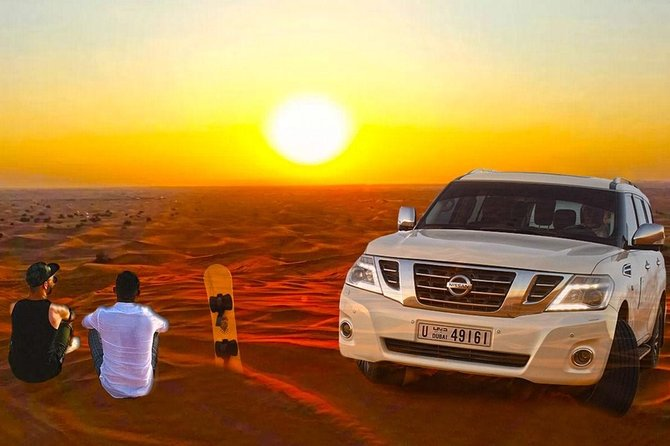 Evening Red Dune Desert Safari, Sandboarding, Camel Ride & BBQ Dinner
