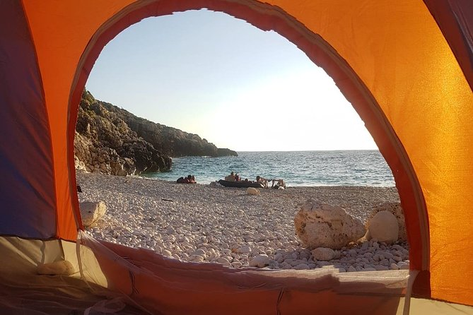 Morning view from the tent at St Andreas Bay, Albania