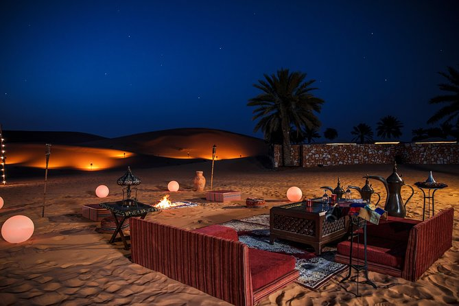 Private Romantic Dune Dinner & Private Shows - From Abu Dhabi with 4x4 Transfer