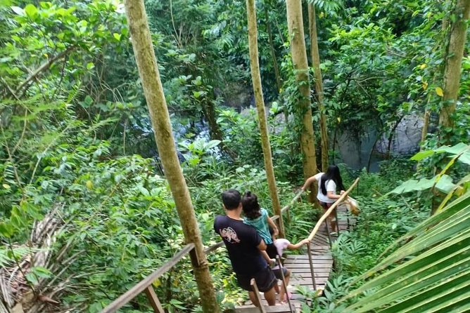 Ubud village trekking ending at hidden waterfall with lunch box