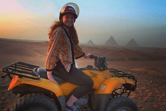 Giza pyramids Egyptian museum and quad bike ATV around pyramids