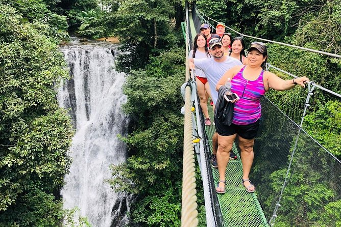 Waterfall and suspension bridges