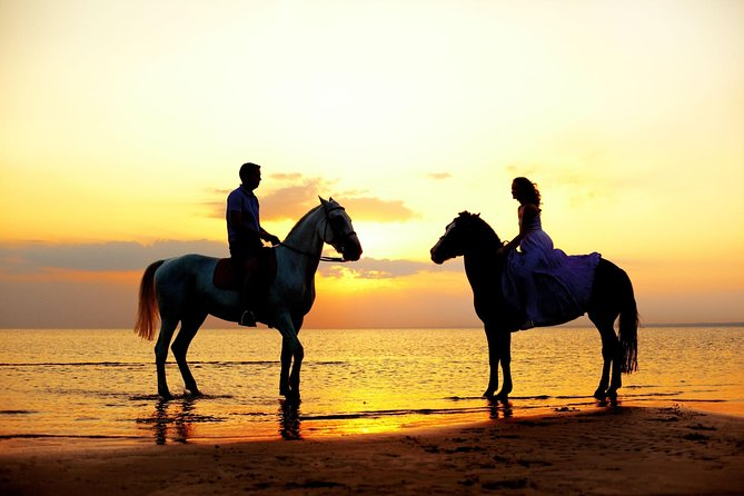 Love is in the air! Private horseback ride on the beach and sunset dinner!