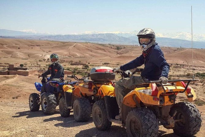 Quad biking in the road to the dam in Marrakech