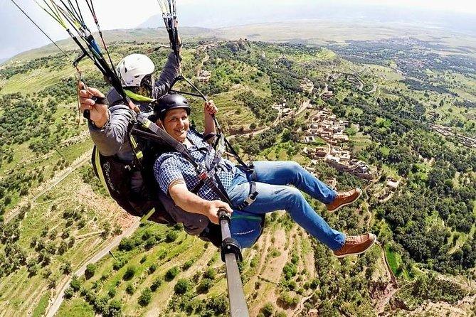 Tandem paragliding flight over the Atlas Mountains