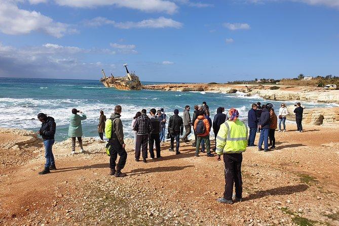 Edro III shipwreck near the shore at the Sea caves