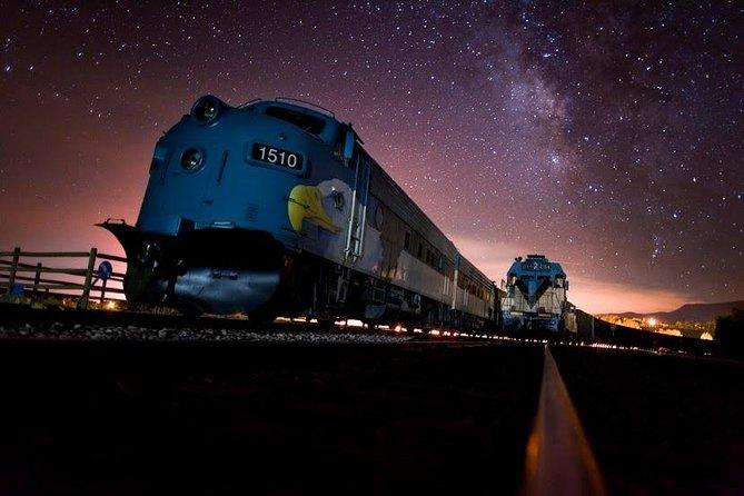 The train travels through daylight, sunset, twilight and starlight aboard the Summer Starlight Ride