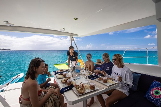 Simpson Bay Private Catamaran Full Day Cruise with 4-course Gourmet Lunch