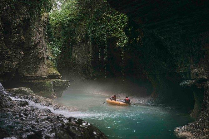 Prometheus cave, Martvili canyon, Okatse waterfall and Lomina lake from Kutaisi