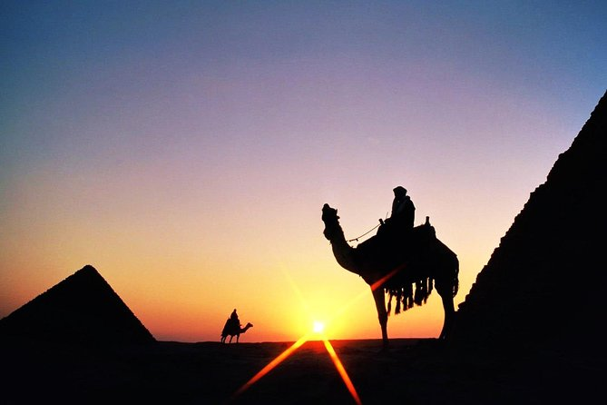 Day tour Giza pyramids, Egyptian Museum with 2:Hrs camel ride during the sunset