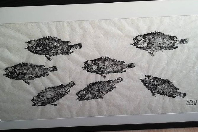 Gyotaku fish-print. after a fishing trip you have the opertunity to get your fish printed.
