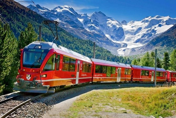 Bernina train and Swiss Alps. Departure from Desenzano
