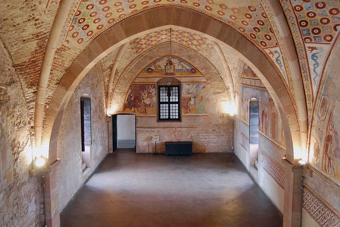 The medieval frescoes inside the Rocca