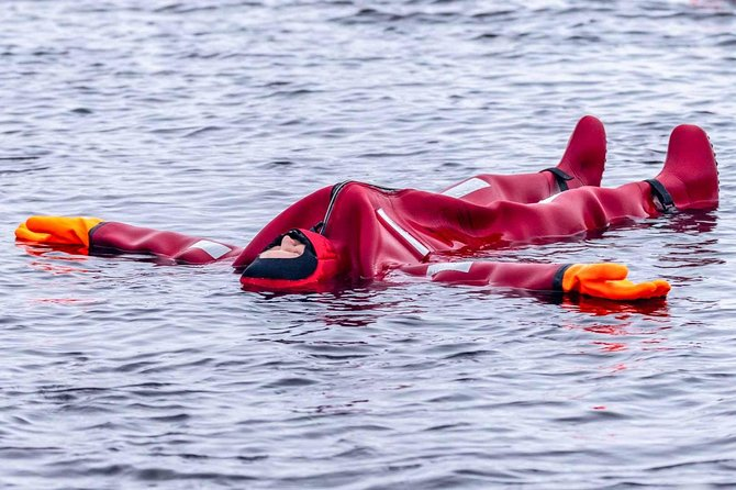 Dry-suit floating in Lake Saimaa