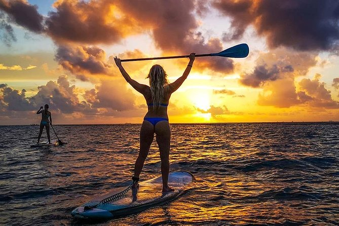 Paddleboarding At Sunrise On The Caribbean Sea