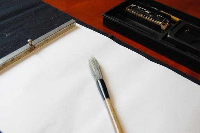 Painting and Calligraphy Using Squid Ink at Cafe for Culture in Hakodate