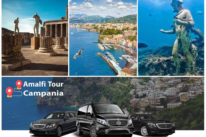 Transfer from Amalfi Coast to Rome or reverse (stop Pompeii or Herculaneum 2hrs)