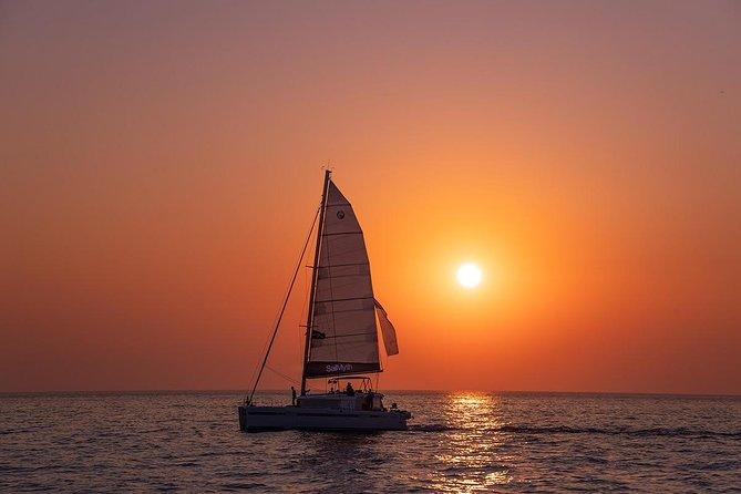 Semi-private Luxury Catamaran Cruise to Santorini's volcano hot springs+ BBQ