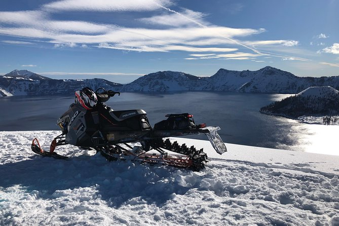 Guided Snowmobile and Snowbike Mountain Tour and clinic at Crater Lake