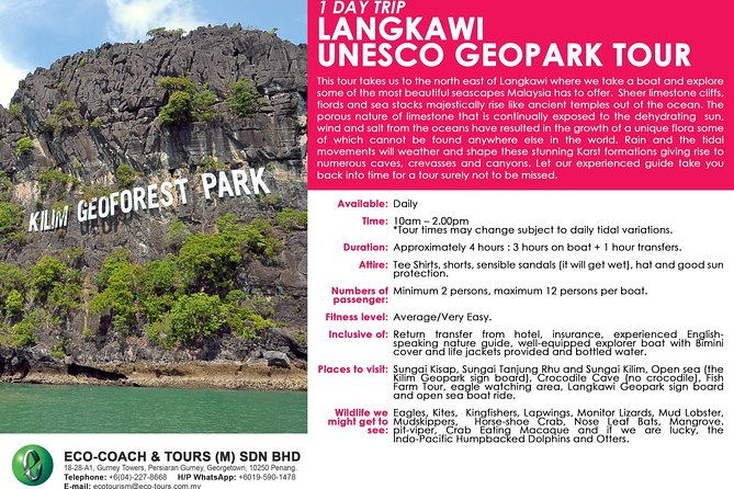 1 Day trip Langkawi Unesco Geopark Tour