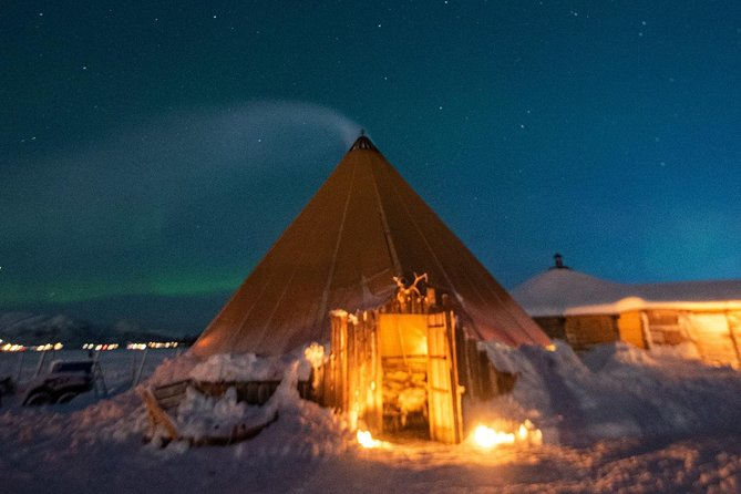 Night Reindeer Sledding with Camp Dinner and Chance of Northern Lights