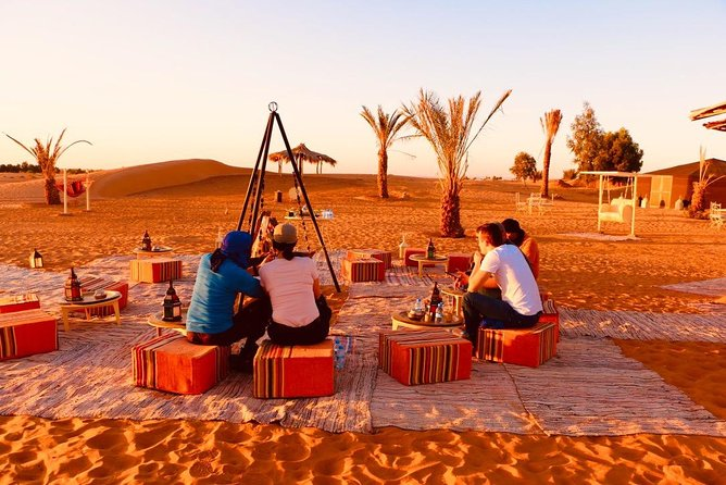 Merzouga: Overnight in luxury desert camp with Camel Ride, meals & sandboarding
