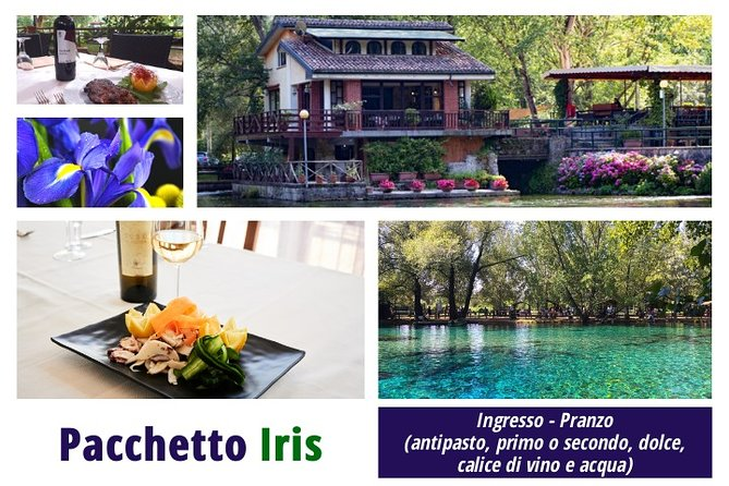 IRIS PACKAGE: Lunch (appetizer, first or second course, dessert, glass of wine and water)