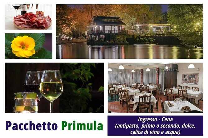 PRIMULA PACKAGE: Dinner (appetizer, first or second course, dessert, glass of wine and water)