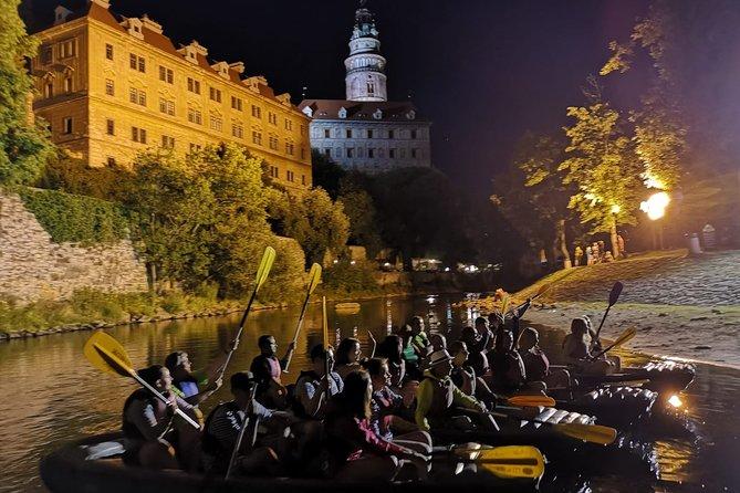 Night rafting in historical Český Krumlov