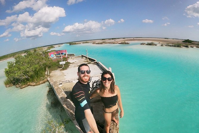 DISCOVER BACALAR Full Day Tour to the 7 Colors Lagoon, Cenotes and Pirates Route
