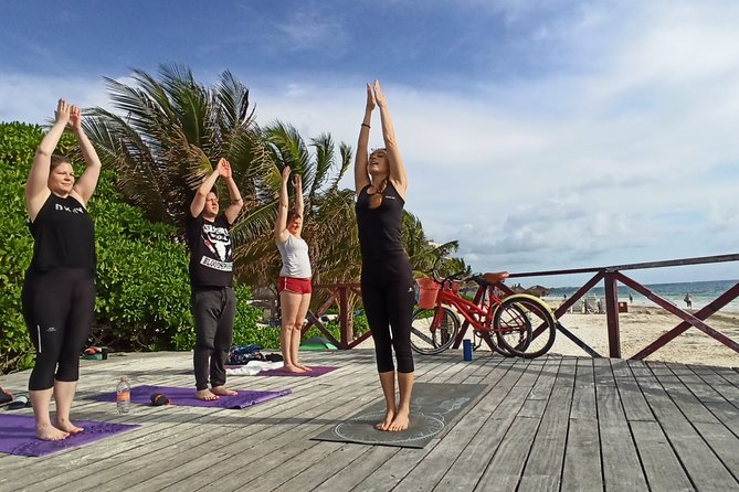 ✋Cancun Caribbean Breeze Yoga on the beach from Cancun