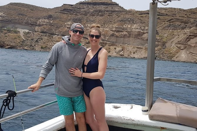 Santorini fishing tour morning private for couples with fresh fish and drinks