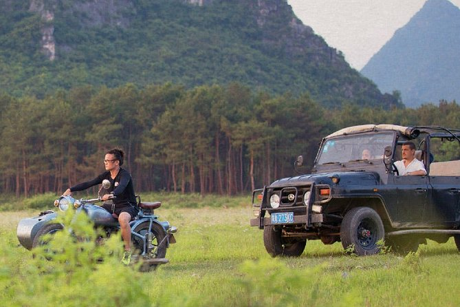 Vintage Jeep and Sidecar Adventure through Guilin Countryside