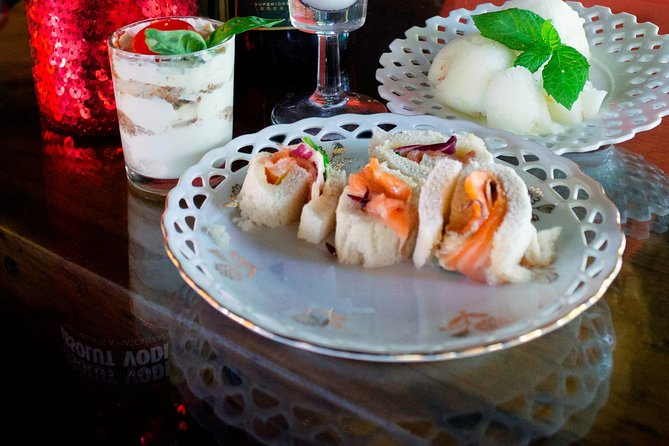 spritz and vodka sorbet (sgroppino) with gourmet homemade appetizers
