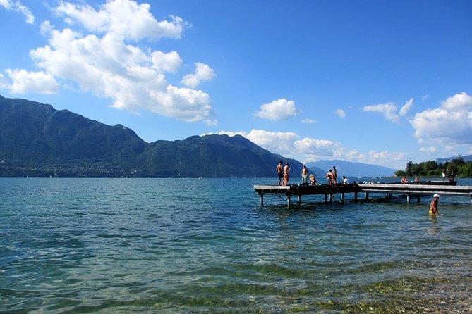 Panoramas of Bourget lake and local picnic