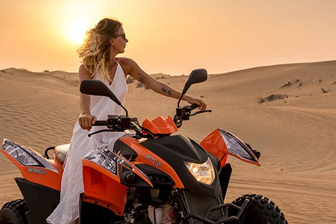Morning Dubai Desert Safari with Quad Biking and Dune Bashing and Sandboarding