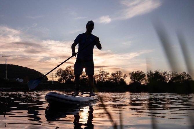Stand up paddling sunset tour on the Sander quarry pond