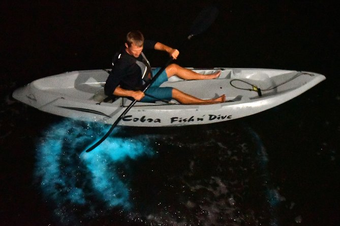 Watch the waters light up as you move your paddle through the bioluminescent water in Cocoa Beach, Florida. Fin Expeditions.