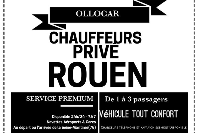 Rouen - Paris Airport Transfer Shuttle 3 passengers max