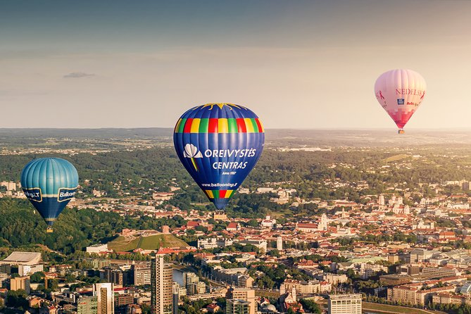 Hot air balloon over Vilnius or Trakai, Lithuania