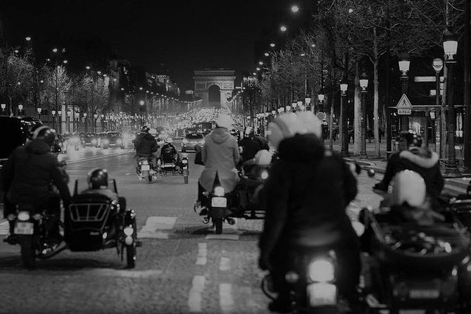 Paris Vintage Tour by Night on a Sidecar with Champagne included