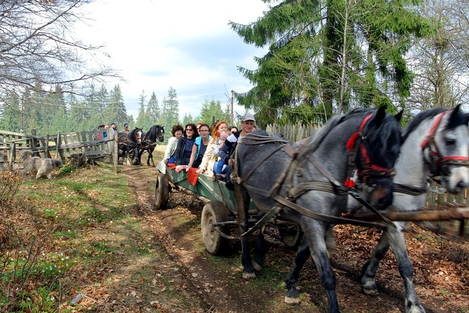 Time travel with horse pulled cart in Corund