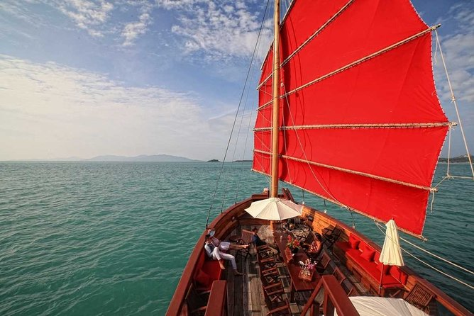 Koh Samui to Angthong Marine Park Cruise Tour By Red Baron Chinese Sailboat