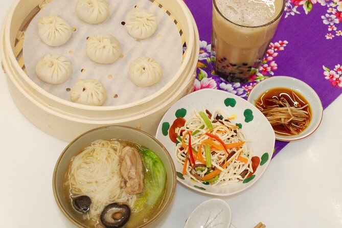 Taiwan Traditional Delicacies Experience, Xiao Long Bao, Chicken vermicelli with mushroom and sesame oil, Tofu strips salad, Bubble milk tea. (Taiwan Cooking Class)