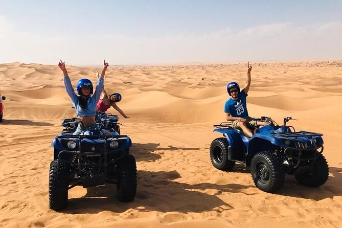 Dubai Self-drive Quad Bike,Sand Boarding,Camel Ride and Refreshments at Camp